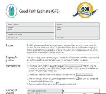 The $500 Good Faith Estimate Guarantee for Loan Officers