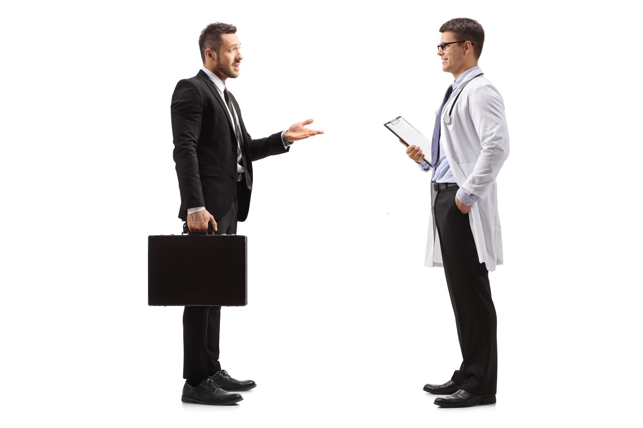 Pharmaceutical company representative talking to a doctor